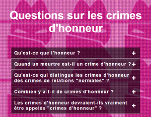 Questions sur les crimes d'honneur